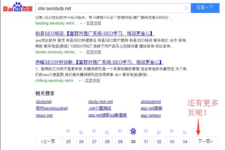 百度搜索结果将收录的页面都展现出来了